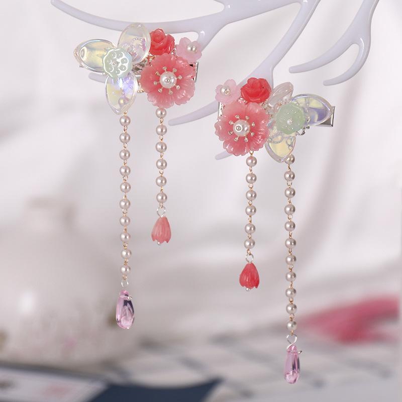 Clips de cristal FORSEVEN chino antiguo perlas que casan la flor de la borla larga horquilla tocados de la joyería del pelo Noiva Novia muchacha de las mujeres