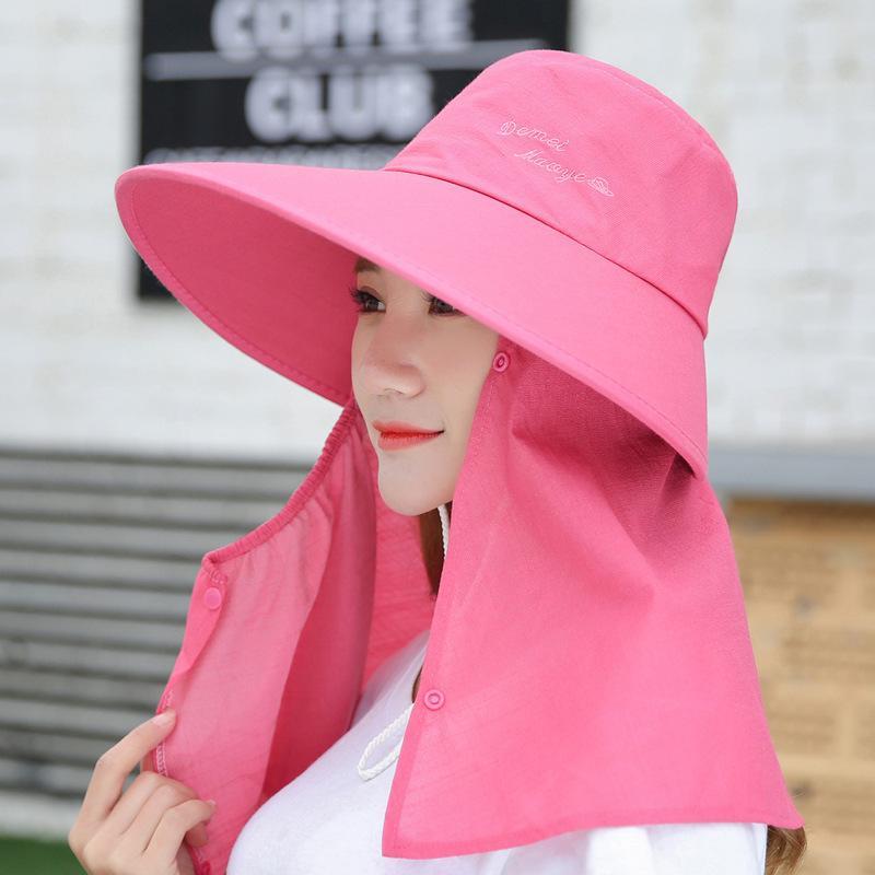 Chapéus para mulheres Verão Sun Visor com grandes chefes Aba larga Praia Hat Omnibearing UV Feminino Caps Neck Face Proteção Y200716