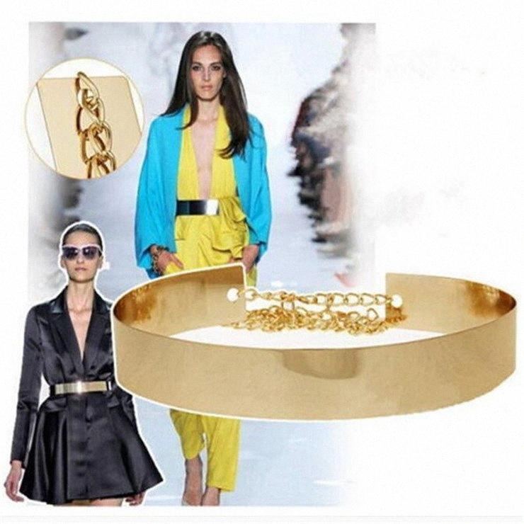 1PC Women's Elegant Belt Cummerbund Girl Metal Golden Mirror Plate Thin Belt with Chains Wide Dress Waistband Band qN4B#