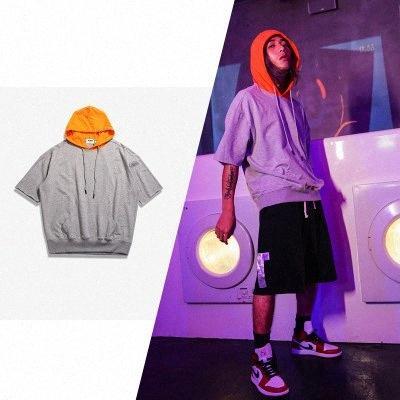 Camiseta de manga para hombre de la moda casual color de contraste suéter de la corto verano o-cuello flojo remiendo fino de hombres Ropa kVfm #