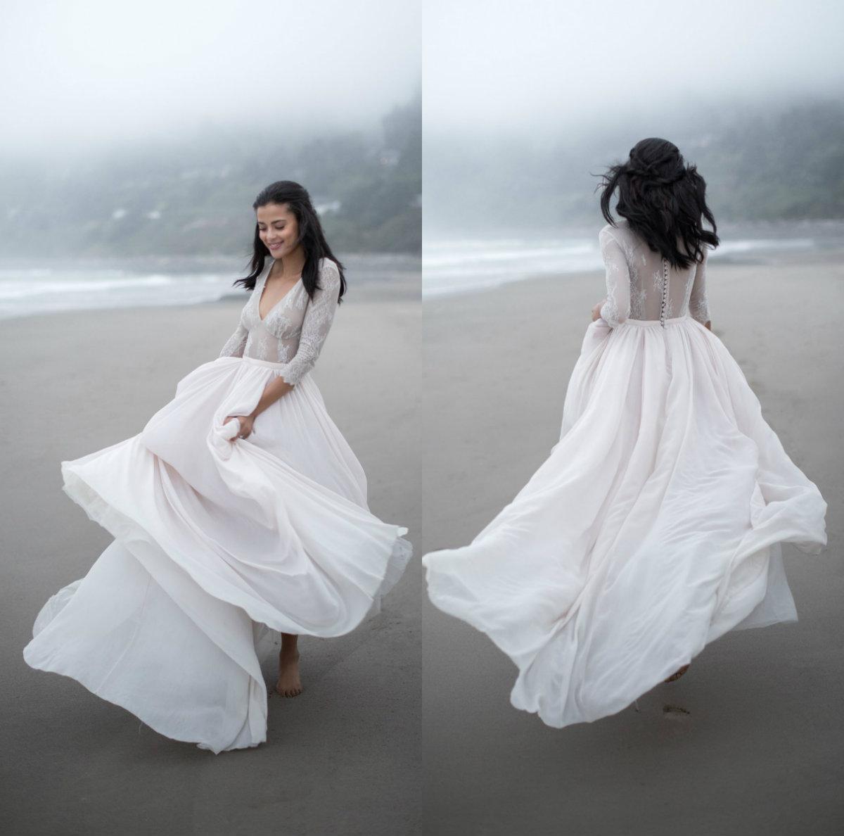 Дешевые Простой V шеи с длинными рукавами Свадебные платья Line Свадебные платья плюс размер 6 8 4 10 12 14 16 18 20