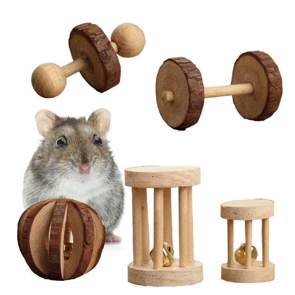 6шт / комплект Hamster Деревянные Жевательные игрушки Животные зубы Молярная Уход Болл упражнения Игра Белл ролика Игрушка для кошек Кролики