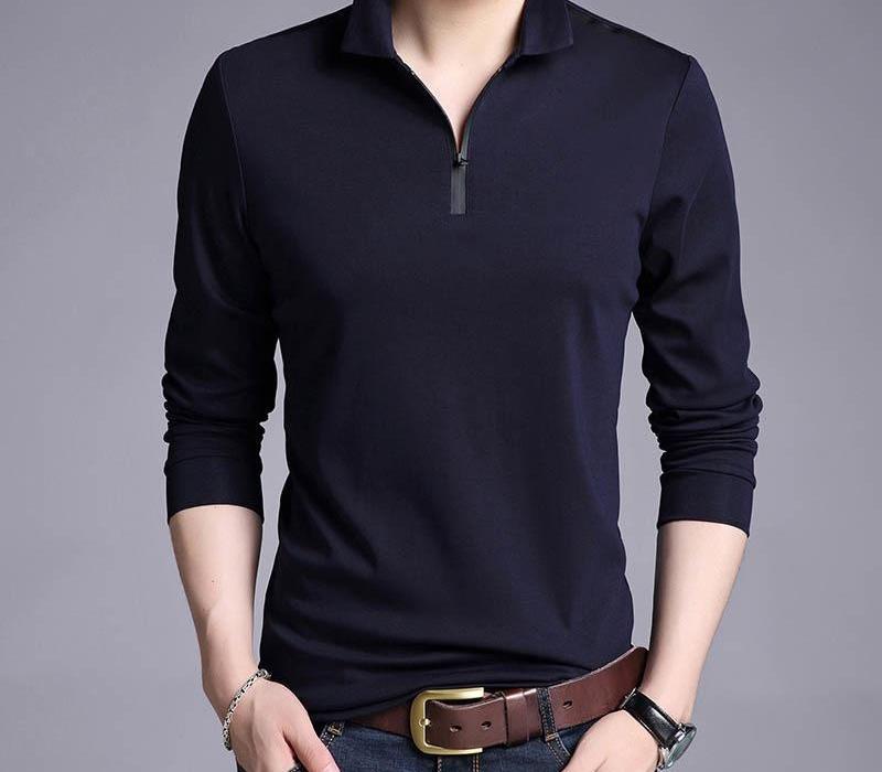 Liseaven футболка Мужчина Solid Color Slim Fit рубашка с длинным рукавом тенниски метанию вскользь Тенниски Марка Одежда CX200703