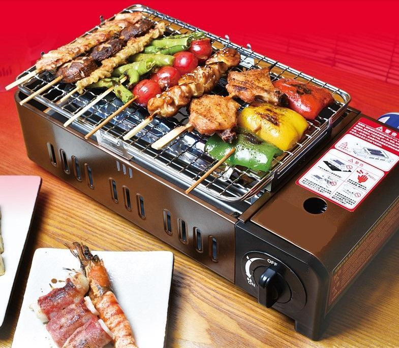 Dual-purpose bombola del gas Barbecue griglia antivento portatile barbecue all'aperto gas cassetta picnic stufa a 012