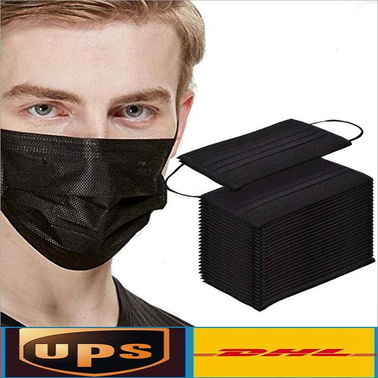 Maschere del DHL di trasporto del nero a gettare la maschera di protezione di protezione a 3 strati con maschere Earloop Bocca Volto Sanitari all'aperto