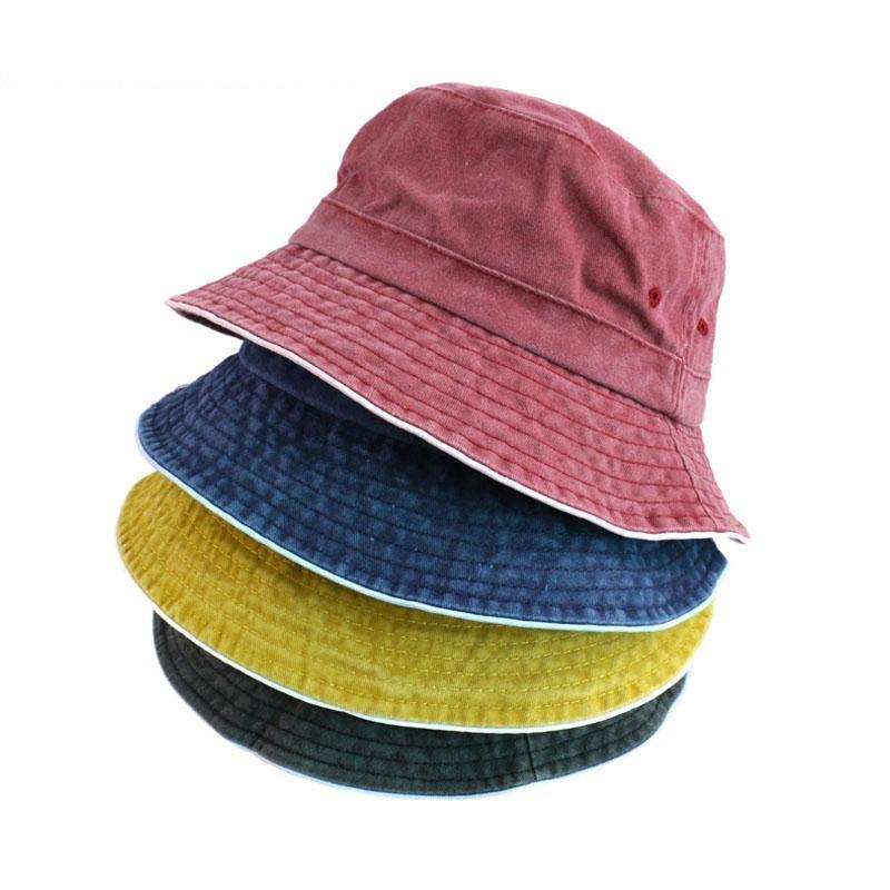 2020 New Fashion Men Women Unisex Cotton Bucket Hat Fishing Boonie Bush Cap Visor Sun Wild Sun Protection Cap Denim Bucket Hat
