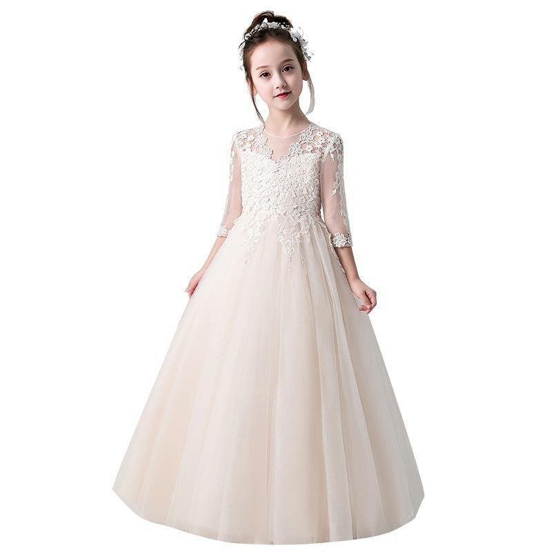 New First Communion Dresses for Girls Champagne O-neck Ball Gown Lace Appliques Flower Girl Dresses for Weddings