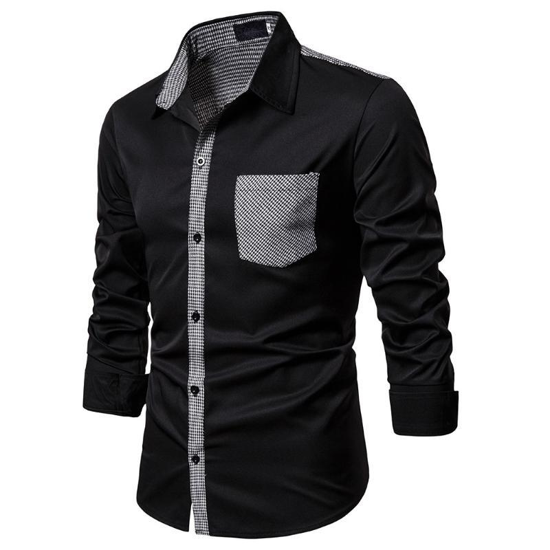 Männer Slim Fit Dress Shirt Patchwork-Knopf Turn-Down-Kragen Street Pockets Langarm-Top-Blusen-Hemd Herrenbekleidung