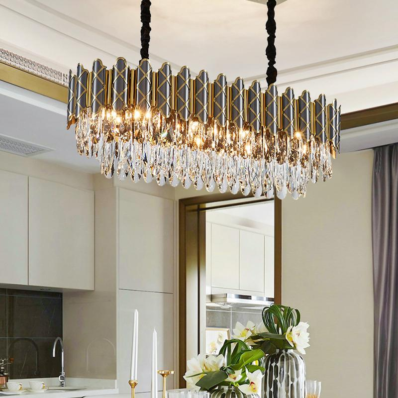 Lo nuevo las luces de araña de cristal para el dormitorio habitación de la villa de vida Comedor 45cm de diámetro habitación - 100 cm de lujo llenos de humo llevado lámparas colgantes