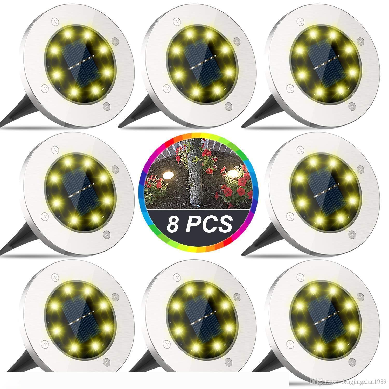 Solares terra Luzes, 8 LED Disk Luzes Solar Powered, ao ar livre no-chão Luzes, IP65 à prova d'água para a paisagem, passagem, Relvado, Passos Decks,