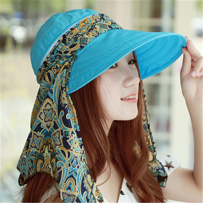 Floral Printed Summer Hats for Women Chapeu Feminino Foldable Visors Cap Sun Collapsible Anti-UV Wide Brim Hat
