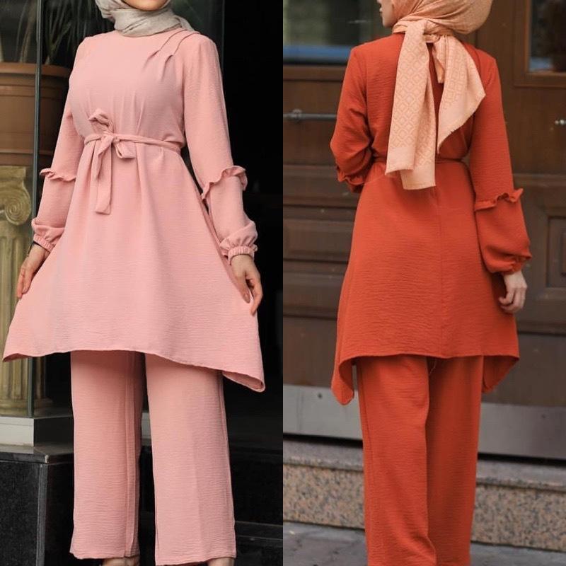 JJ837 Due Pezzi Dubai Abaya abito da musulmano Donne caftano manica lunga camicetta gamba larga Pantaloni Set islamico turco Abbigliamento Jilbab arabo Robe donne