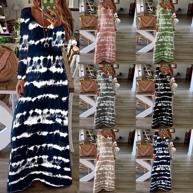 Женщины Robe Maxi платье с длинным рукавом V-образным вырезом Tie-Dye Полосатый Сыпучие длинное платье