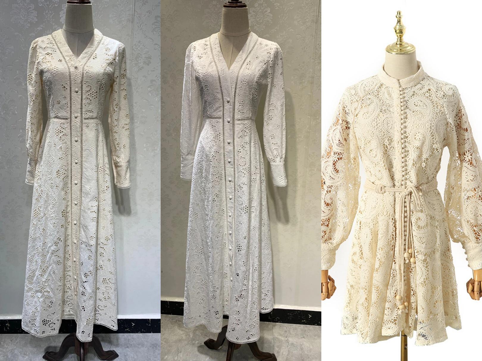 호주 레이스 빈티지 패턴 자수 허리 얇은 퍼프 슬리브 투각 칼라 드레스