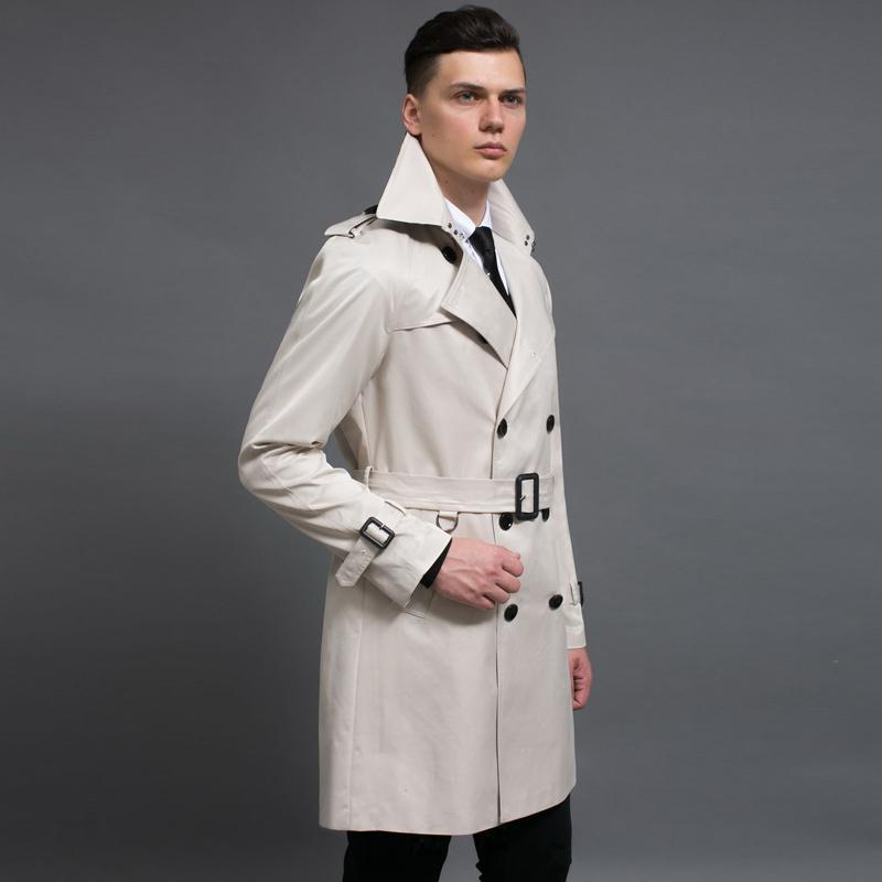Длинные мужские Стиль пальто весна и осень Двойной Брестед Сплошной цвет Мужские куртки и пальто плюс размер 6XL Man Тренч NO.718