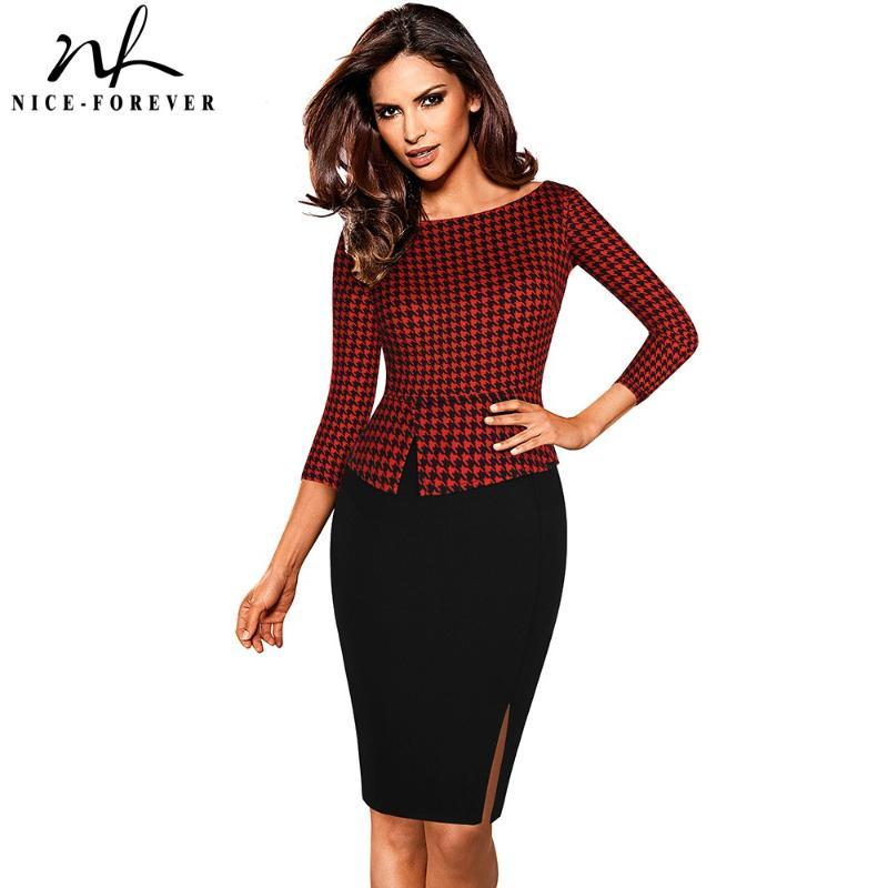 Nice-forever Autumn Retro Houndstooth Patchwork Office Dresses Business Bodycon Fitted Women Dress btyB562