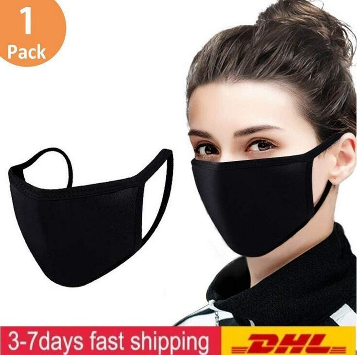 DHL의 빠른 선박 조정 안티 먼지 얼굴, 자전거 캠핑 여행을위한 100 %면 세척 재사용 가능한 천 마스크 블랙 코튼 마스크