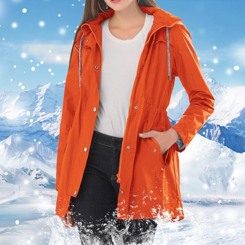Women Waterproof Hooded Windbreaker Mid-length Solid Rain Jacket Windproof Overcoat Spring Autumn Fashion Sport Outdoor Raincoat