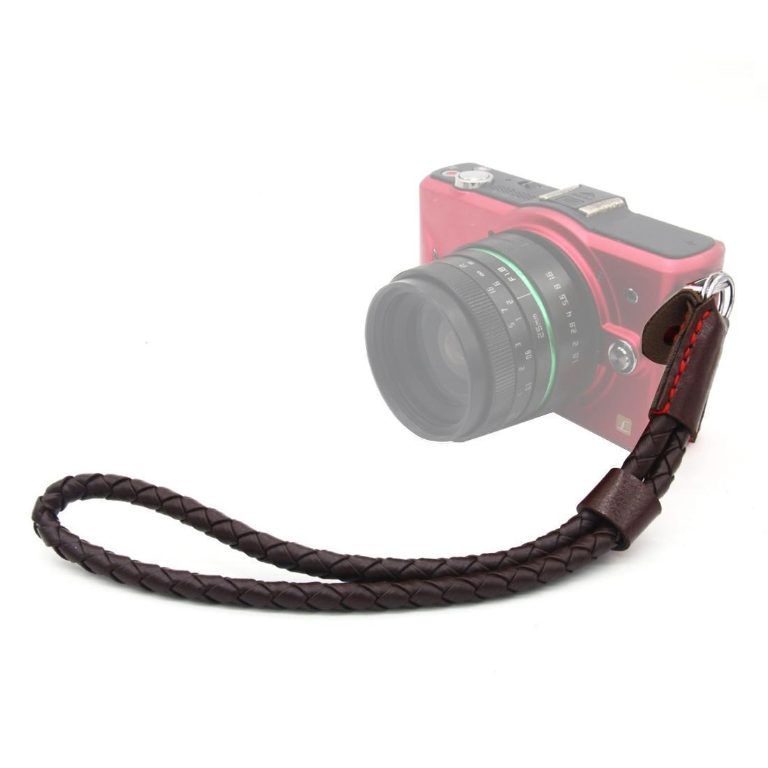 نسج نمط المعصم الشريط قبضة بو حزام من الجلد اليد لDSLR / SLR كاميرات