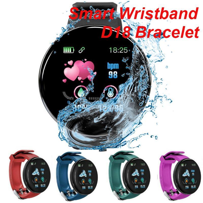 D18 Smart bracelet Blood Pressure Heart Rate Tracker Passometer Wearable Technology Waterproof Smart Wristbands Smartwatch For All People