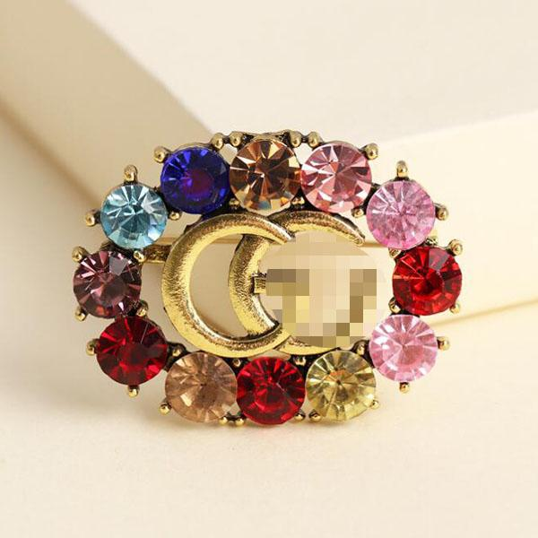 new fashion colorful crystal letters brooch pins earrings bohemian brooches earring women girl party jewelry gift accessories