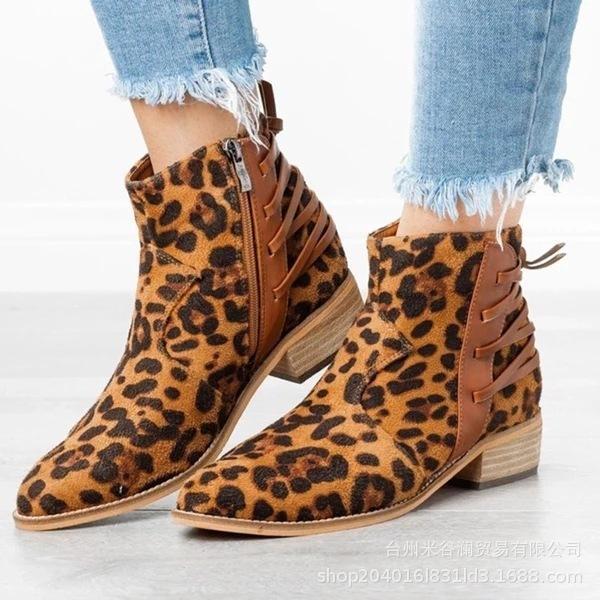 transfronteiriças de espessura botas de salto apontou curto botas de lado zipper volta lace up de couro salto alto grandes mulheres