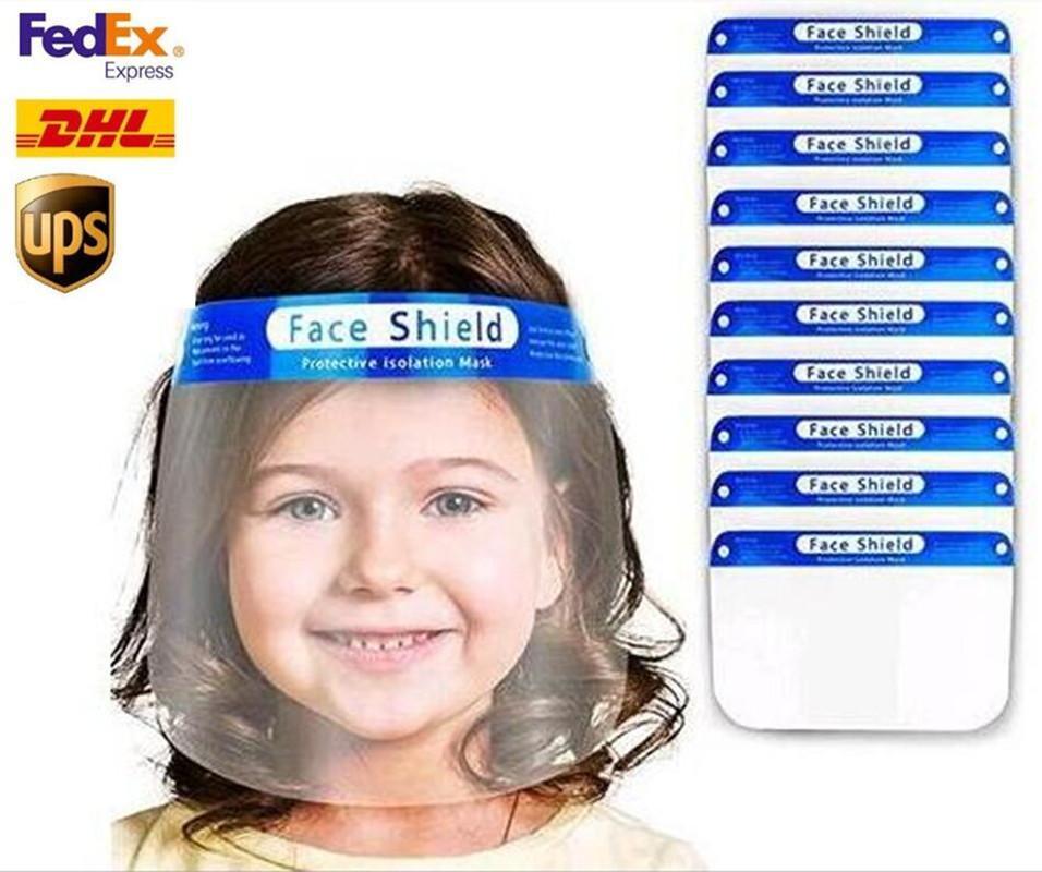 Los Estados Unidos de niños protectora transparente protector de cara máscara de plástico de protección de la cara llena Máscara de aislamiento anti-niebla de aceite máscara protectora del sombrero del protector del FY8017