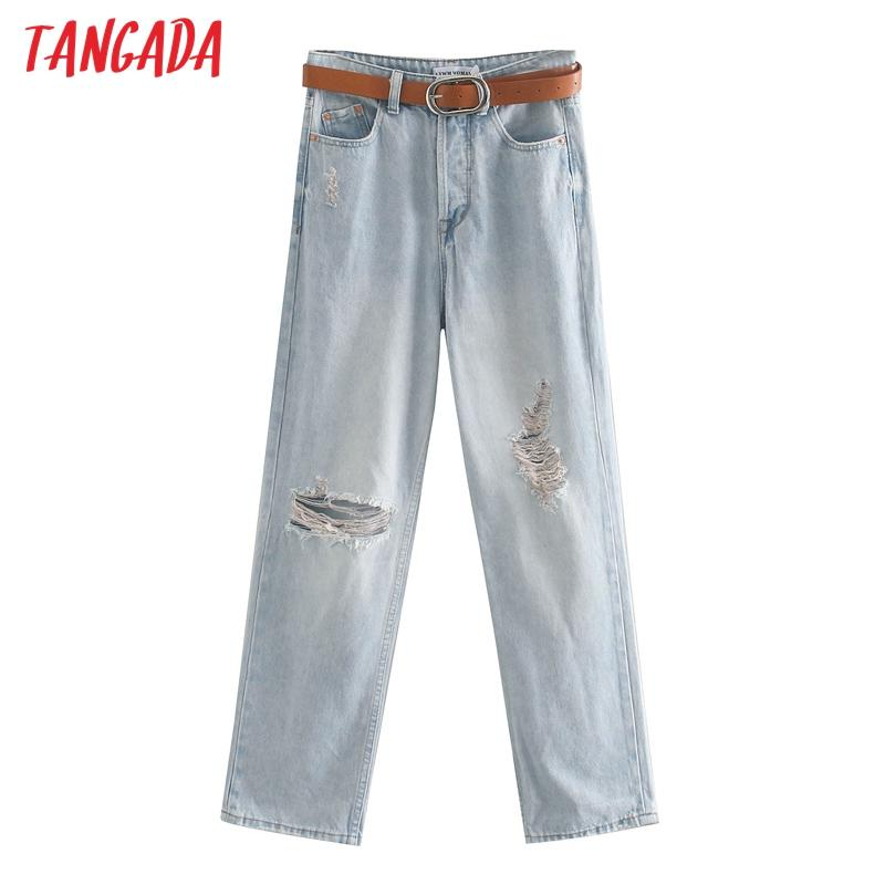 Tangada 2020 fashion women boyfriend style ripped jeans pants with belt long trousers pockets zipper female pants JE203