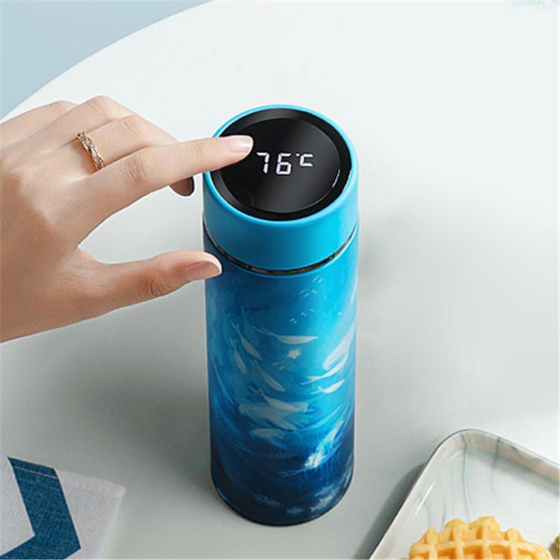 450ml Thermos vuoto Boccette Display temperatura acqua dell'acciaio inossidabile bottiglia di corsa tazza di caffè del tè al latte tazza Thermo Cup T200525