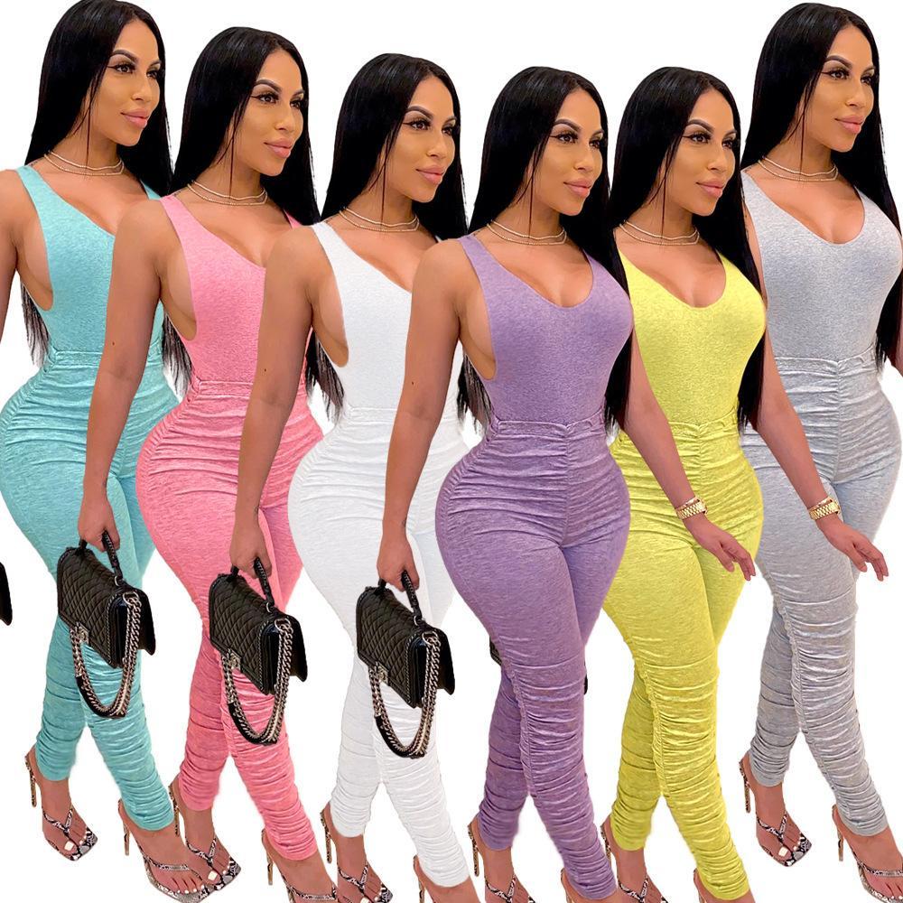 Твердые цветные женщины комбинезонов и тяжелое дыхание-шт набор лето плотна спинка V-образный вырез комбинезон складки пробежки костюма из двух частей набора S-XXL