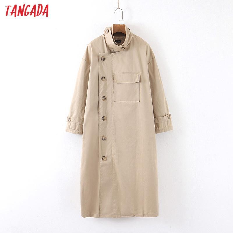 Tangada Frauen solide lange Trenchcoat elegant überdimensionalen 2.020 Knöpfe lange Ärmel Büro Damen Arbeitskleidung lose outwear SP13