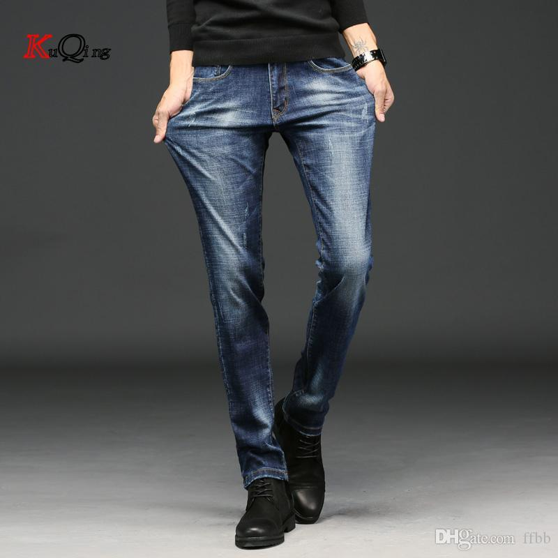 KUQING jeans stretch uomini sottili in forma 2019 primavera e l'estate mode e pantaloni scarni della matita nera jeans blu per gli uomini