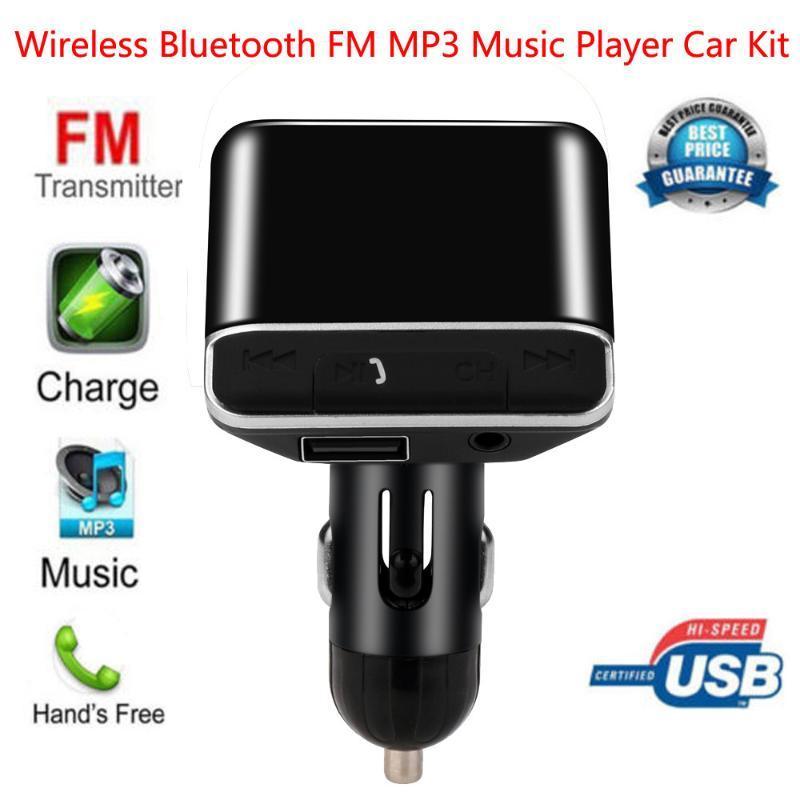 Chargeur de voiture Bluetooth Ports de recharge USB sans fil Transmetteur FM Radio Lecteur MP3 Adaptateur Kit voiture avec LED Affiche # R10