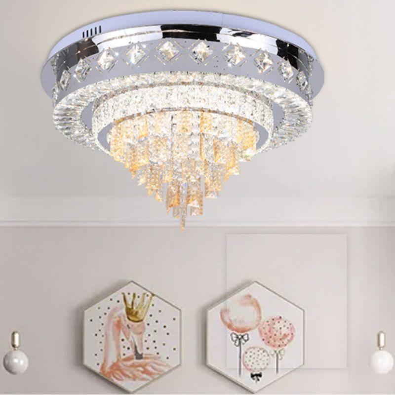 plafonnier cristal simple, lustre en cristal moderne conduit lampes suspendues de chambre à coucher lampes suspendues salle exquise éclairage de gros