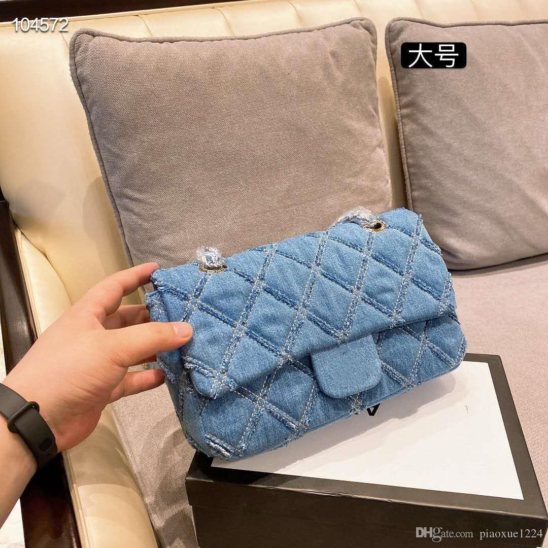 2020 hochwertige neue Jeans-Kette Schulter Schultertasche für Frauen mit Geschenk-Box-Verpackung