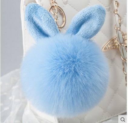 fashion Designer Keychains Fake Rabbit Fur Ball Key Chain Porte Clef Pompom De Fourrure Fluffy Bag Charms Bunny Keychain 2020