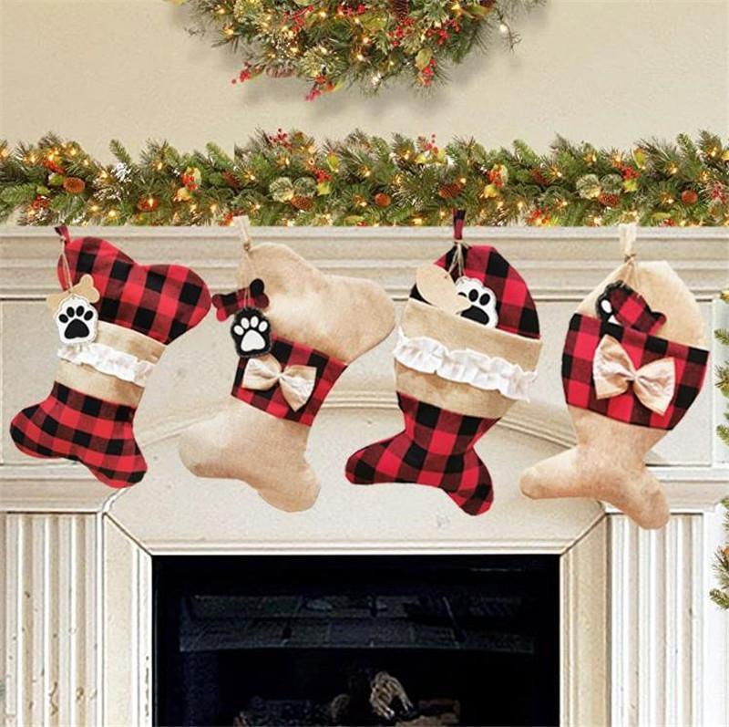 4 أنماط صور عيد الميلاد الحيوانات الأليفة الجوارب سانتا لطيف هدية العظام كيس من القماش للأطفال الرئيسية حزب زينة مهرجان