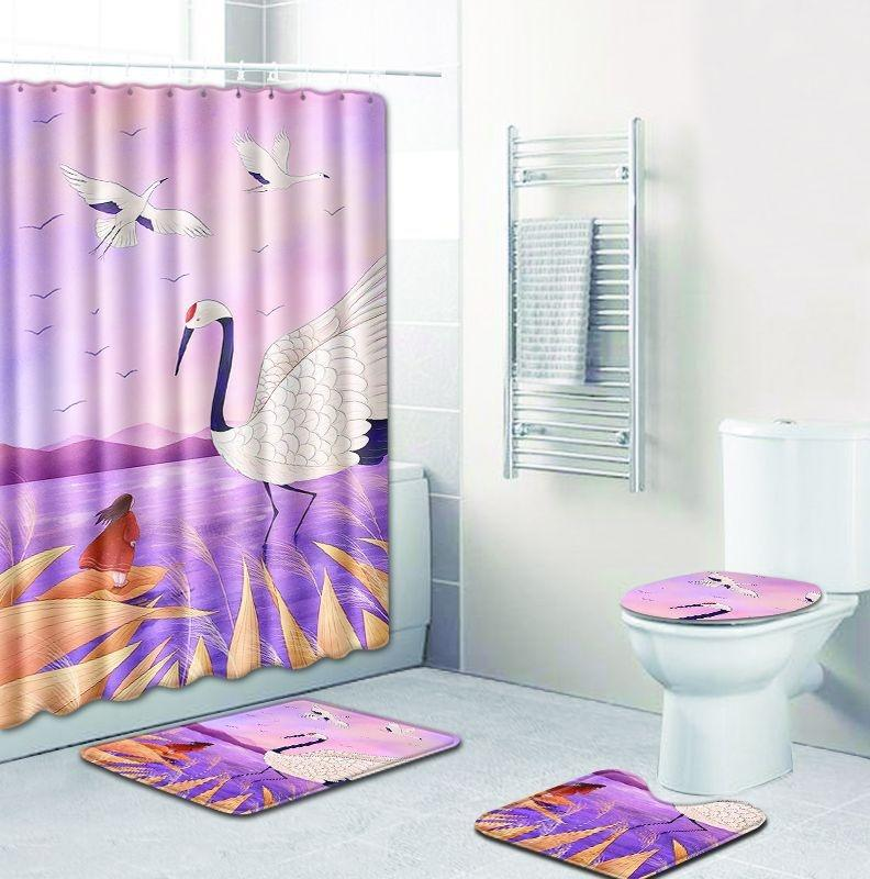 Peinte douche rez-de-rideau Lot de 4 Moquette combinaison ensemble WC WC tapis tapis de pied de tapis de salle d'eau quatre-pièce