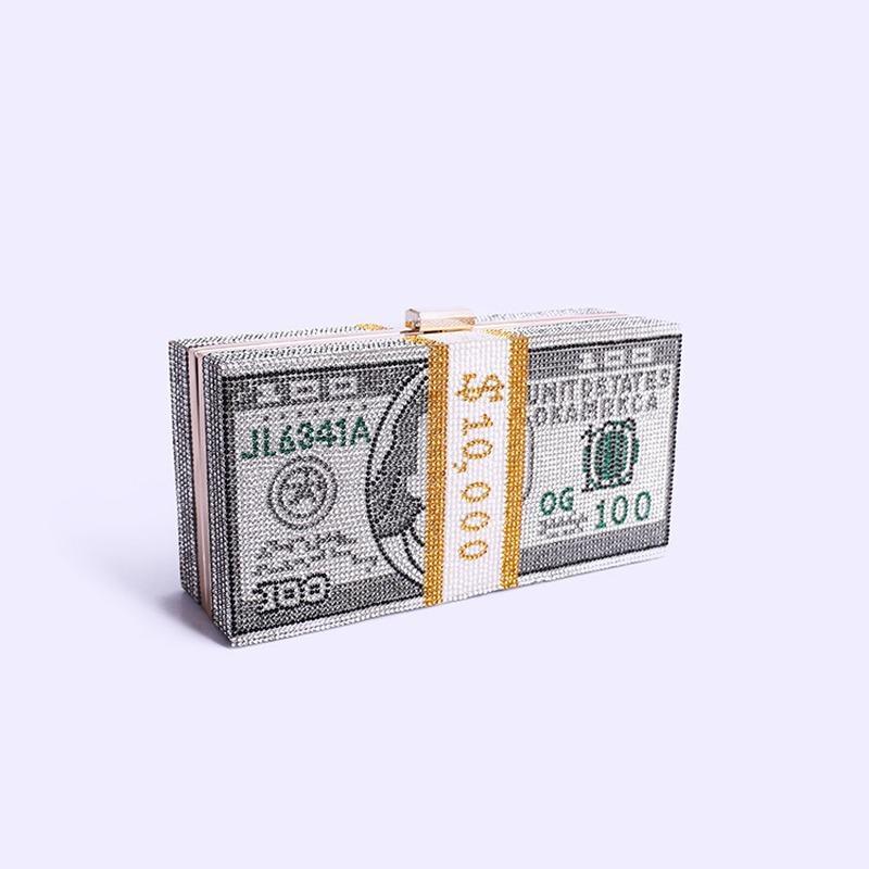 Pilha de cristais de dinheiro Acrílico dinheiro Evening Clutch Bolsas diamante Pintura do casamento cadeia de Jantar bolsas e bolsas de luxo Mulheres
