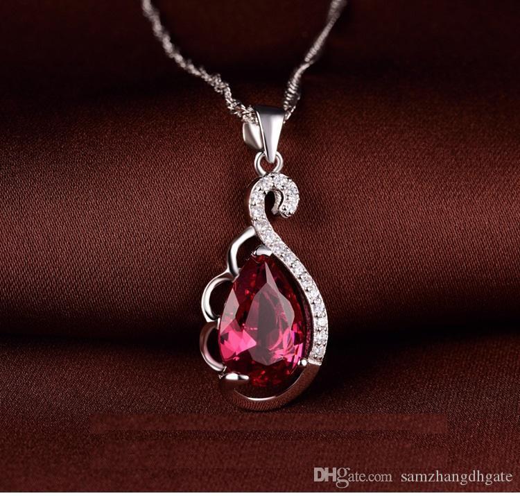 regalos del día de San Valentín de primera calidad colgantes de plata de ley pendiente S925 SS925 con waterdrop mujeres del diseño de collares de plata DDS00