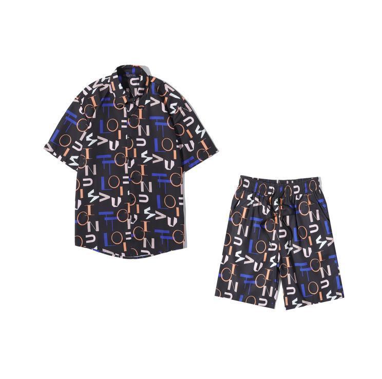 Мужчины мода рубашка + шорты 2020 лето Горячей продажи Одежды Наборы Взрывные Письмо Pritned Повседневного Стиль отдых Одежда Наборы