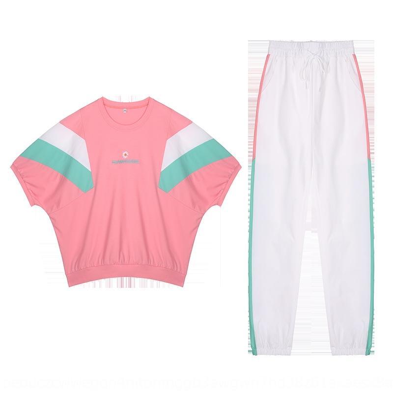 corrispondenti NRKti colori sciolti nuovi sport vestito casuale 2020 corrispondenza dei colori T-shirt da donna nuove cappotto coatsports sciolti T-shirt tuta casuale 202