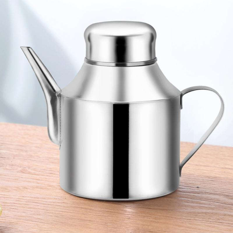 250ml de Grande Capacidade Galheta Oil Dispenser de prata de aço inoxidável tempero Início Restaurante vinagre de cozinha Container Leak Proof