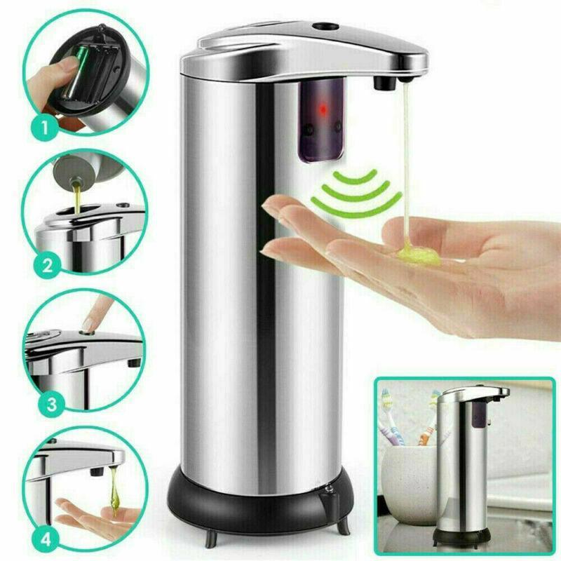 250ml Paslanmaz Çelik Otomatik Sabunluk Eller serbest Otomatik IR Akıllı Sensör Fotoselli Sabun Sıvı Dispenser