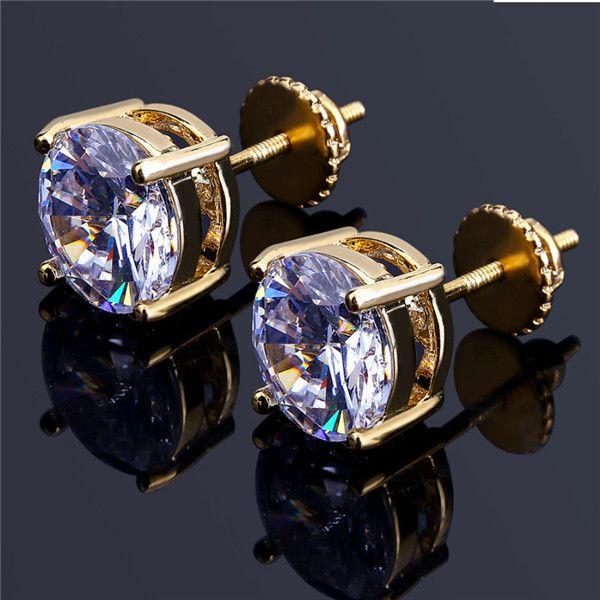 الرجال الهيب هوب وأقراط مجوهرات عالية الجودة جولة موضة الذهب الفضة الماس مقلد أقراط للرجال.