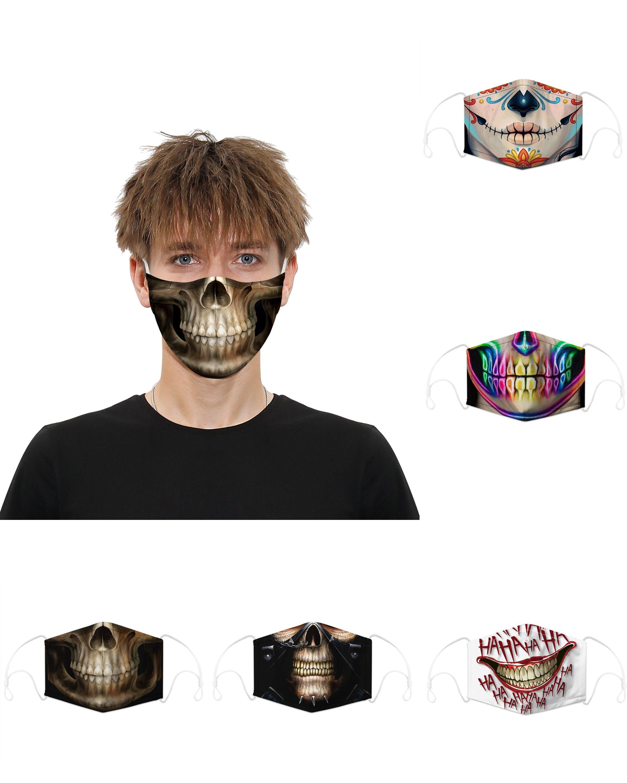 حار بيع الرجال والنساء PM2.5 القطن الغبار 3D مطبوعة قناع مرشح أسنان الجمجمة ساخرة ابتسامة تخصيص حزمة فردية