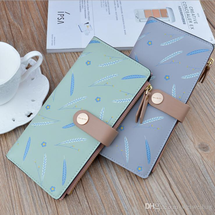 Mappe der Frauen-Frauen lange Reißverschluss Schnalle Korean Mode-Druck-dünne Mappen-Multi-Card Position Soft-Wallet Card Case 2039