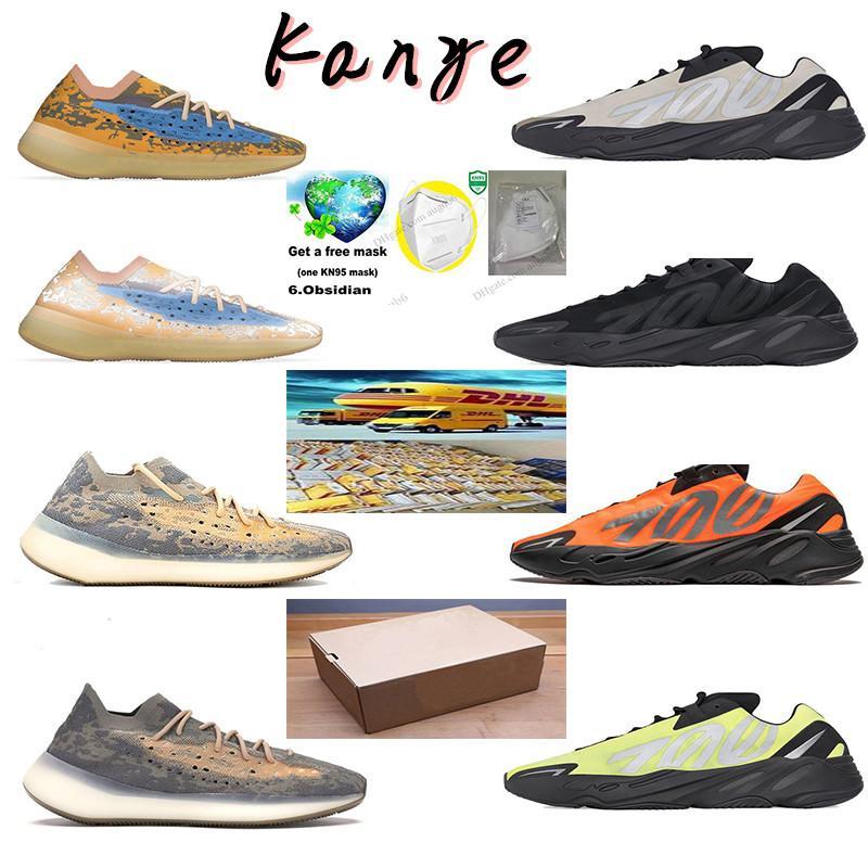2.020 de carbono azul 700 Imán de la reflexión inercia estática tephra lavanda sólido gris Kanye West zapatos para correr deporte femenino estilista zapatos de los hombres