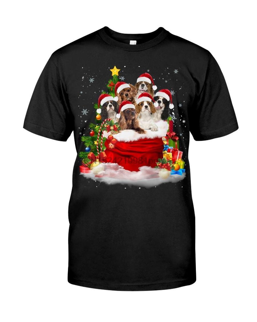 Camiseta de los hombres Cavalier King Charles Spaniel-Santa Claus Bolsa 1 Mujeres Camisetas