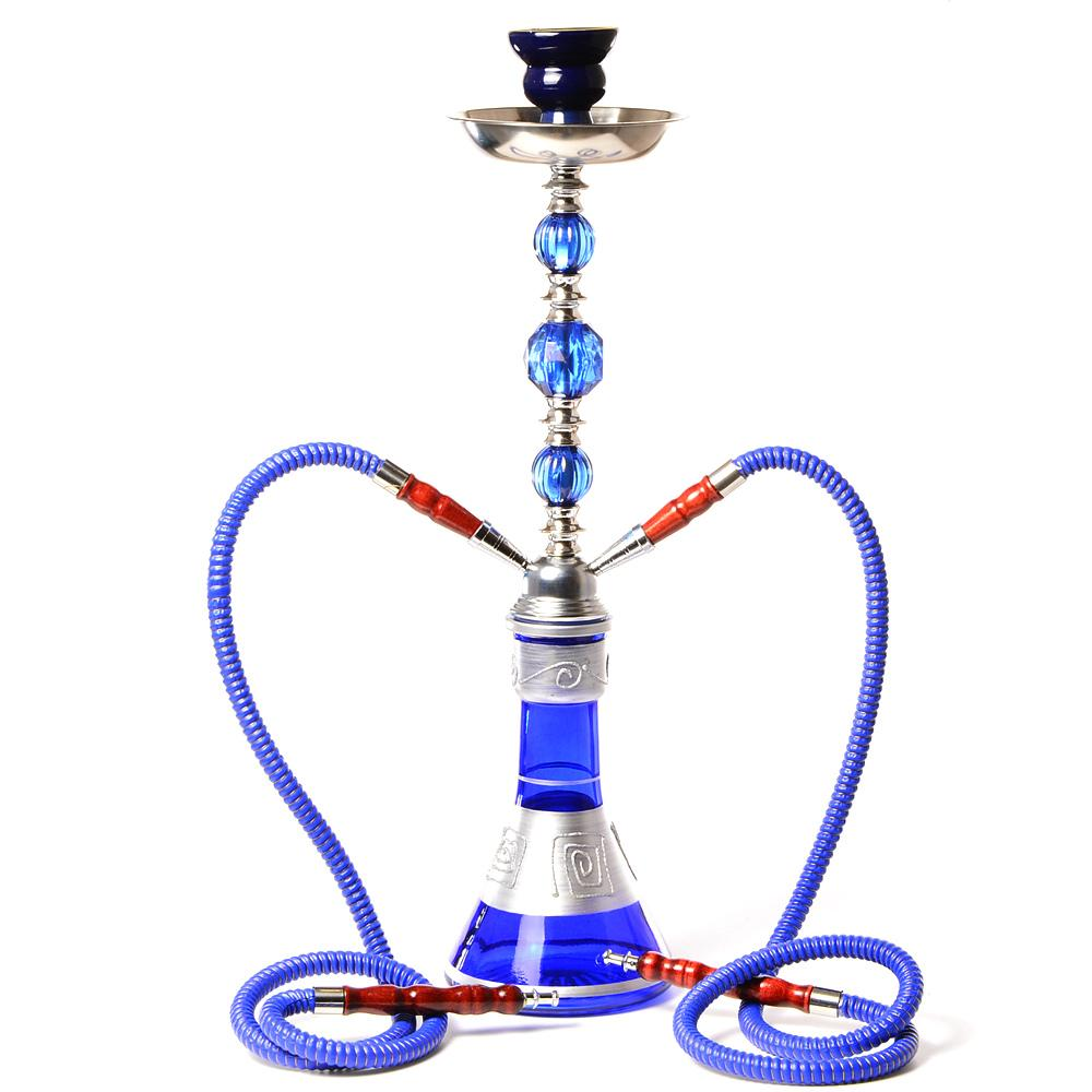 Middle Size Double Hose Glass Hookah Travel Shisha Pipe Set Chichas with Narguile Ceramic Bowl Charcoal Tongs Bar Accessories